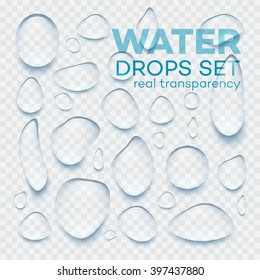 Realistic transparent Water drops