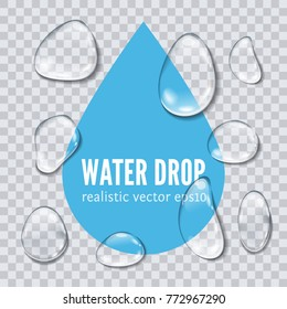 Realistic transparent Water drops isolated on transparent background