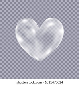 Realistic transparent white  soap  bubbles in shape  of the  heart isolated on checkered background. Symbol of love. Design element for romantic valentines day card. Vector texture.