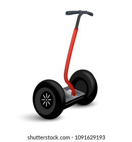 Realistic transport icon isolated on white. Eco electric two wheel vehicle. Vector illustration of modern city transport.