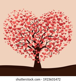 Realistic tree blooming with red hearts - Vector illustration