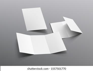 Realistic Tri-Fold A5 Or A4 Brochure Mockup. EPS10 Vector