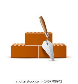 Realistic trowel and bricks for industrial design. Vector bricklayer, mason tool for cement. Handycraft work design element. Construction equipment for plastering.