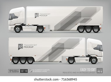 Realistic Truck Trailer for Branding Mockup template. Abstract monochrome gray geometric graphics elements on Truck Trailer layout for Brand identity and corporate style. Hi-tech abstract background