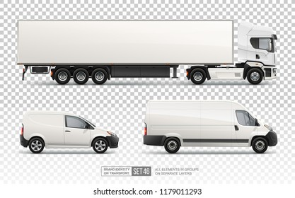 Realistic Truck Trailer, Cargo Van, Delivery Car - Vector Blank Mockup set on transparent background. Transport empty mockups cars layout for Branding and Corporate identity