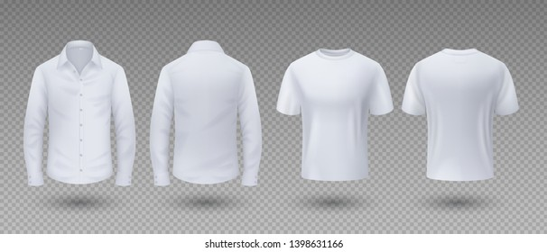 Realistic t-shirt and shirt. White mockup isolated template, 3D blank male uniform clothing, front and back view. Vector sport wear for man with long sleeve