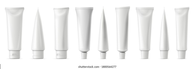 Realistic tube mockup. White plastic tuba for toothpaste, cream, gel and shampoo. Blank packaging front and side view vector mockup. Template for medicine or cosmetics set illustration
