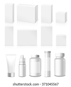 Realistic Tubes, Jar  And Package. Packing White Cosmetics And Medicines Isolated On White Background. You Can Use It For Tube Of Creams, Medication, Chemical, Gel,  Ointments Or Any Other Product