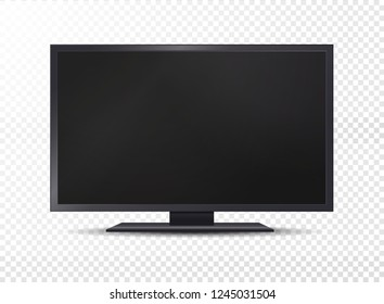 Realistic tv isolated on transparent background. Vector illustration