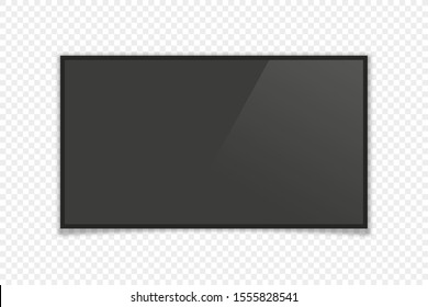 realistic tv monitor with shadow on transparent background