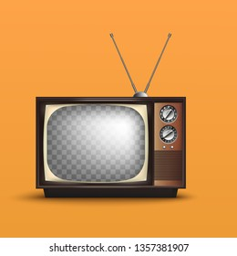 Realistic TV Retro style.80's style.with blank screen.vector illustraion