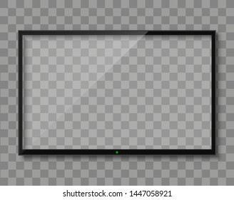 Realistic TV screen. Empty TV frame transparent background. Modern stylish lcd monitor, led type. Blank television template – vector for stock