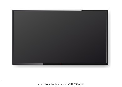 Realistic TV screen hanging on the wall. Modern stylish TV lcd panel isolated. Large led computer monitor display mockup. Vector illustration
