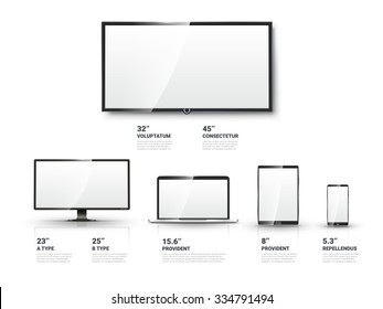 Realistic TV screen, Lcd monitor, laptop and tablet and mobile phone templates set. Computer and communication, display vector illustration