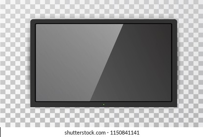 Realistic TV screen LCD plasma. Large computer monitor display mockup. Modern blank screen TV. Isolated on transparent background. Vector illustration, eps 10