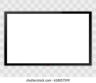 Realistic TV screen. Modern lcd wall panel, led type, isolated on transparent background. Large computer monitor display mockup. Blank television template. Graphic design element. Vector illustration