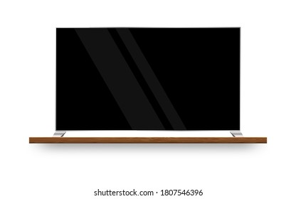 Realistic TV screen. Modern TV on wood shelf. Template for your design. Realistic vectorn illustration.