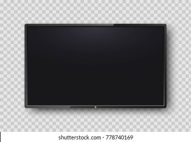 Realistic TV screen on transparent background. Modern blank screen lcd, smart led. Mock up template for your design. Wide empty frame. Vector illustration