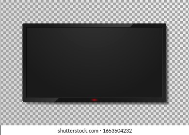 Realistic TV screen template with empty black display. LCD or LED tv panel, 4k television screen on transparent background with shadow.  Vector.