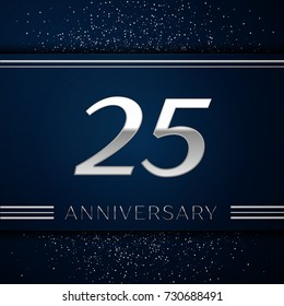 Realistic Twenty five Years Anniversary Celebration Logotype. Silver numbers and silver confetti on blue background. Colorful Vector template elements for your birthday party