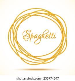Realistic Twisted Spaghetti Pasta Circle Frame, logo emblem vector illustration