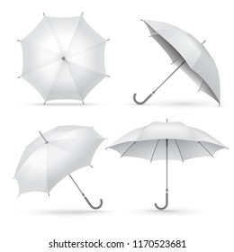 Realistic umbrella. White rain or sun open umbrellas. Isolated vector illustration. Protection rain and sun, collection of parasol with handle
