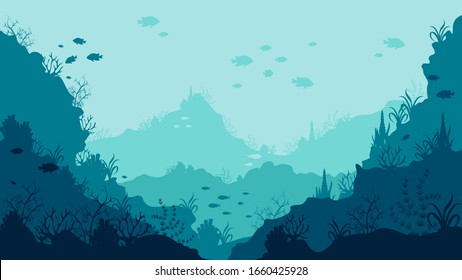 Realistic underwater background bottom of the ocean with swimming fish and corals vector graphic illustration. Colored beautiful environment deep natural marine reef horizontal backdrop