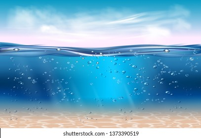Realistic underwater background. Ocean deep water, sea under water level, sun rays blue wave horizon. Water surface 3D vector concept