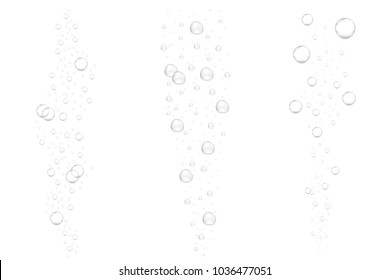 Realistic underwater fizzing air bubbles isolated on white background. Sparkling water, air bubbles in aquarium, soda drink. Vector