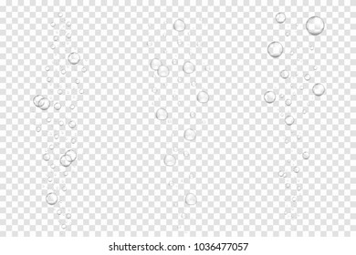 Realistic underwater fizzing air bubbles isolated on transparent background. Sparkling water, air bubbles in aquarium, soda drink. Vector