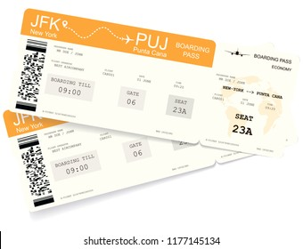 Realistic variant of boarding pass ticket for travel by airplane. Isolated on white. Vector illustration. The boarding pass contains fictitious data in the text