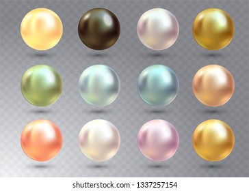 Realistic varicoloured pearls vector set on transparent background. Precious pearl in sphere form. Pearl is luxury glossy stone illustration