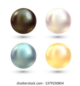 Realistic varicoloured pearls vector set. Precious pearl in sphere form. Pearl is luxury glossy stone illustration