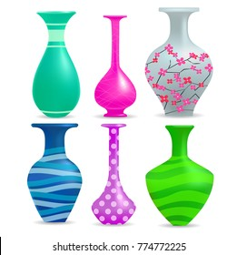 Realistic vases set with decoration, isolated on white background, vector illustration.