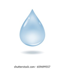 Realistic vector 3d blue water drop isolated.