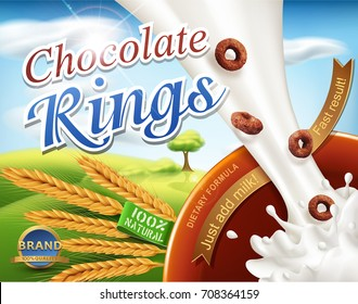 Realistic vector. 3d illustration with a milk splash and chocolate rings pouring into the bowl.Element for  design packaging,advertising for sales fast breakfasts, healthy foods,template advertising
