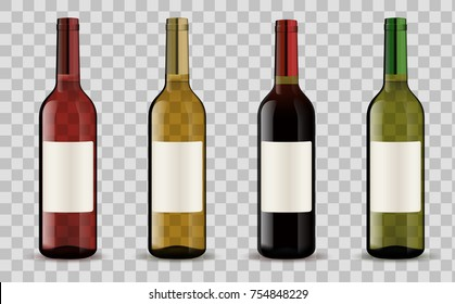 Realistic vector 3d set of bottles with clean labels with white, red, pink wine on a transparent background