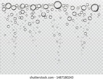 Realistic vector air bubbles.  Water rain drops or air bubbles isolated on transparent background.