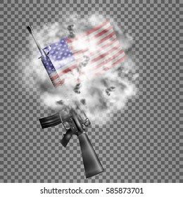 Realistic vector American M16 rifle, the US flag in the smoke. Isolated objects, smoke retaining real transparency.