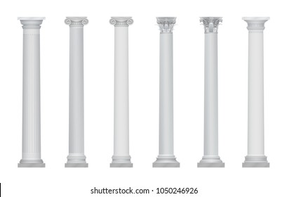 Realistic vector ancient greek rome column capitals set.