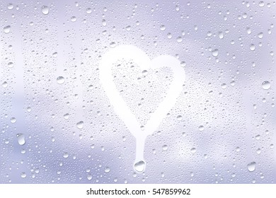 Realistic Vector Background Of Raindrops On The Window With Hand Drawn By Finger Heart Shape