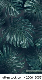 Realistic vector background tropical monstera leaves in dark colors. Hand-drawn palm leaves in vertical wallpaper for phone screens. Screen saver on lock screen, format for posts in social networks
