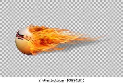 Realistic vector baseball in fire on transparent background.