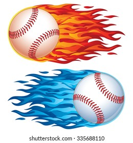 Realistic vector baseball in graphic flames