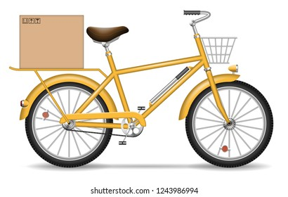 Realistic vector bicycle with carton box and basket on white background. Isolated yellow delivery bike side view.
