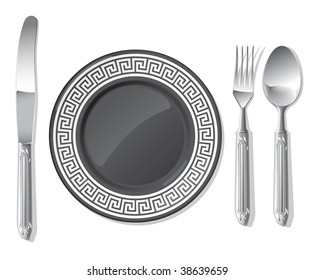 Realistic vector black plate and silver spoon, fork, table knife.