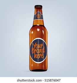 Realistic vector blank beer bottle mock-up