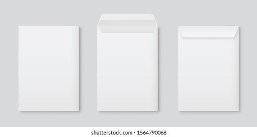 Realistic vector blank white letter paper C4 envelope front view. A4 C4, A5 C5, A3 C3 template on gray background - stock vector.