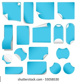 realistic vector blue stickers with peeling corners