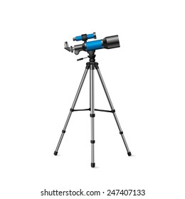 realistic vector blue telescope on a tripod silver on a white background